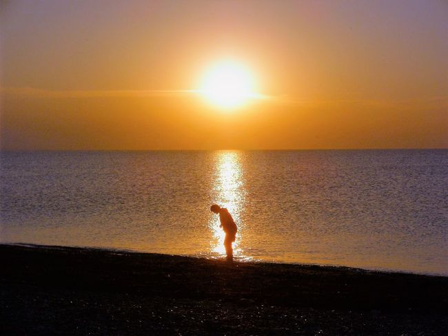 Suchen im Sonnenuntergang Beach Beauty In Nature Full Length Horizon Over Water Idyllic Lifestyles Nature One Person Orange Color Outdoors Real People Reflection Scenics Sea Searching Silhouette Sky Sonnenuntergang ❤ Standing Suchen  Sun Sunlight Sunset Tranquil Scene Tranquility