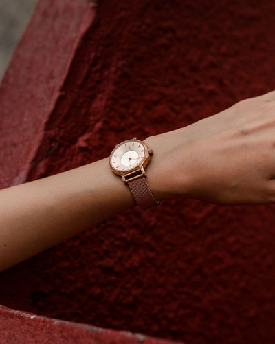 product Watch Wristwatch Product Shoot Hand Human Hand Luxury Young Women Red Close-up Checking The Time Wrist Instrument Of Time Body Part
