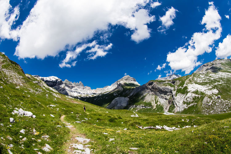 Way to Tschingelhörner / Swiss Alps - captured on the go... check my Instagram account btw / (c) Nidal Sadeq Green Hiking Tschingelhörner Alps Alps Switzerland Beauty In Nature Canonphotography Cloud - Sky Day Deep Blue Sky Fisheye Grass Hiking Trail Landscape Mountain Mountain Range Nature Outdoors Pathway Scenics Sky Snow Tranquil Scene Tranquility