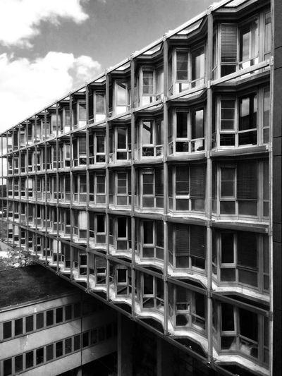Blackandwhite Monochrome Hospital Architectureporn Windows Pattern Repetition Urban Architecture