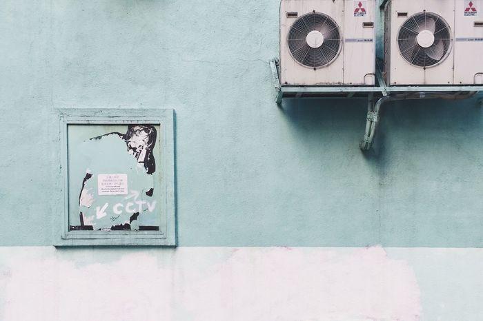 Pastel Colors Pastel Hong Kong Street Artist Street No People Outdoors Day Backyard Building Exterior Wall Daily Life Street Art Graffiti Green Color Green Wall Colourful Buildings Colourful Houses Light Blue Sky Blue Building Feature HongKong Stories From The City