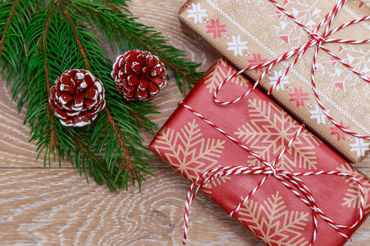 Christmas gift Christmas Is Coming MAS New Year Xmas Christmas Gift Box Celebration Box Wrap Rope Gift Present Suprise Decoration Above Decor Flat Lay Top View Branch Spruce Christmas Around The World Ribbon Rustic Christmas Tree Christmas Decoration