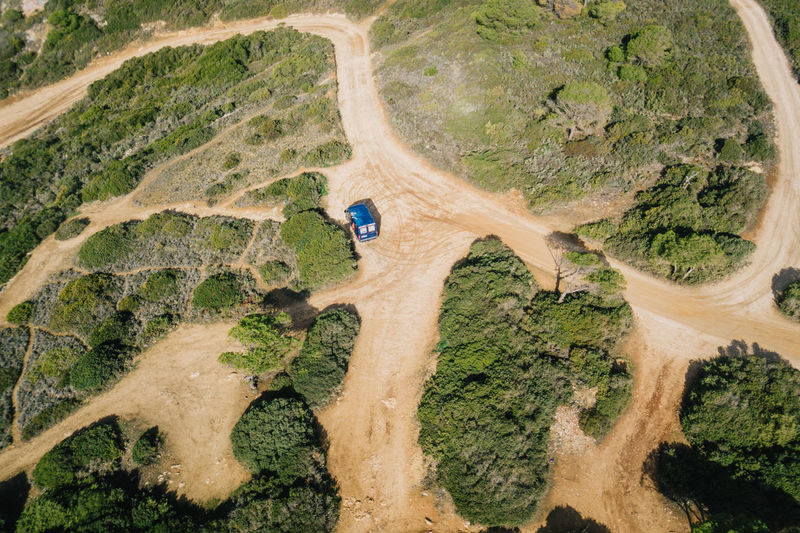High angle view of vehicle in forest