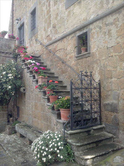 Ancient Architecture Civita Di Bagnoregio Flowers Forge Iron Gateway Handicraft No Handrail Pots The City That Is Dying Tuff Tufo World Monuments Watch