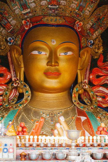 Maitreya Buddha in Thiksey Monastery Buddha India Kashmir Ladakh Maitreya Buddha Monastery Art And Craft Belief Compassion Gompa Indoors  Place Of Worship Religion Sculpture Spirituality Statue Thiksey