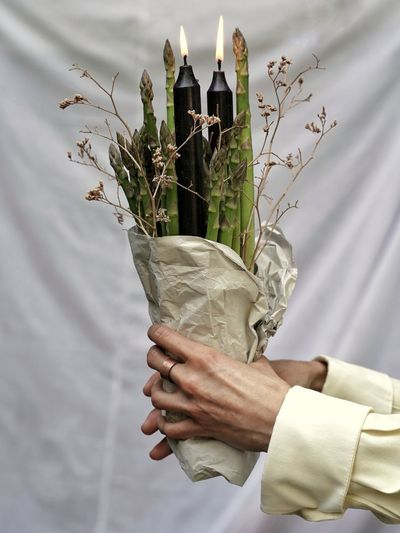 Cropped hand of woman holding plant with candle