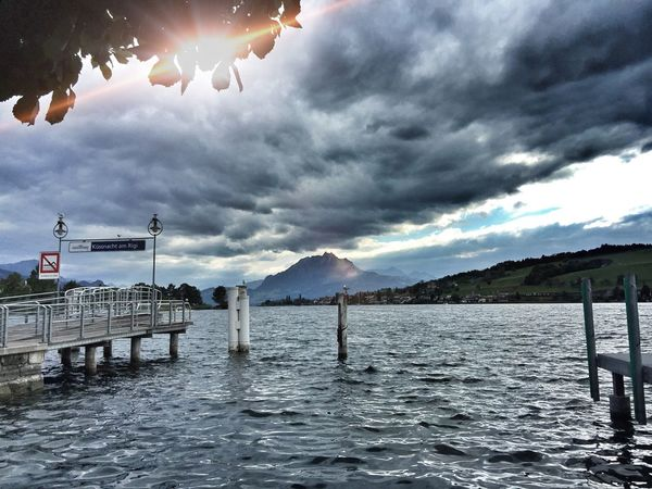 Sky Cloud - Sky Water Nature Sea Scenics Mountain Beauty In Nature Outdoors Waterfront Tranquility Day Mountain Range No People Architecture See Berg Pilatus Mt. Sturm Vierwaldstättersee