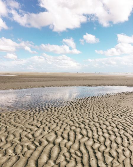 Idyllic Shot Of Water On Sand At Beach Against Sky