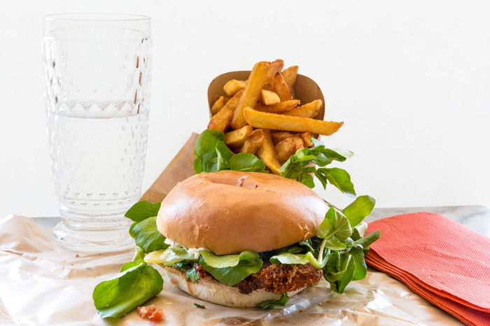 my takeaway burger in Paris Burger Close-up Focus On Foreground Food French Fries Freshness Green Color Indulgence Leaf Lunch Meal No People Organic Ready-to-eat Selective Focus Serving Size Show Us Your Takeaway! Still Life Studio Shot Temptation Water Watercress White Background Yummy Market Reviewers' Top Picks