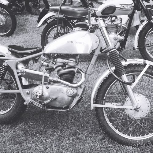 Blackandwhite Royalenfield Trials Bike at Newby Hall