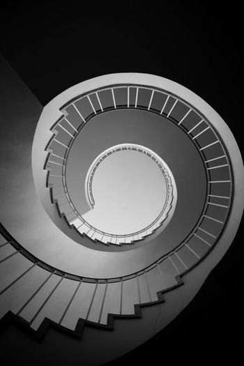 Directly Below Shot Of Spiral Staircases