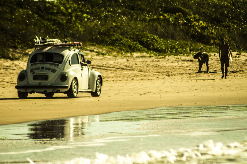 Volkswagen beetle on beach