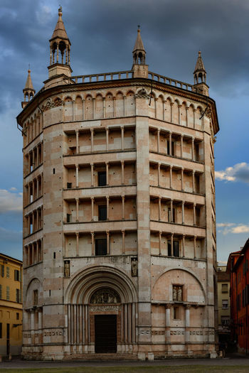 Acient Building Baptism Battistero. Parma. Blue Sky Built Structure City Cristianity Marmo Rosa Medio Evo No People Sky And Clouds Spring Sunset Tranquility Scene