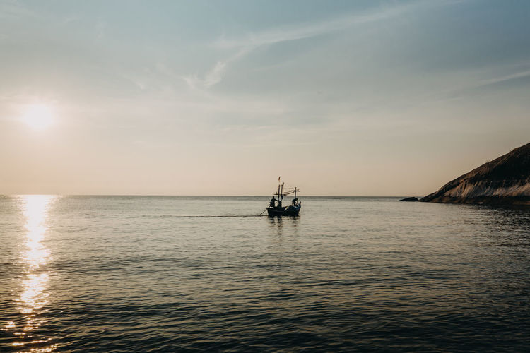 holiday huahin beach thailand Water Sea Sky Nautical Vessel Waterfront Transportation Horizon Scenics - Nature Horizon Over Water Beauty In Nature Mode Of Transportation Tranquil Scene Cloud - Sky Nature Tranquility Sunset Travel No People Outdoors