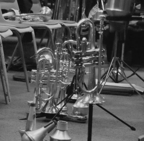 Arts Culture And Entertainment Music No People Indoors  Close-up Day Brass Band Instrament Band Black And White Tuba Upsidedown