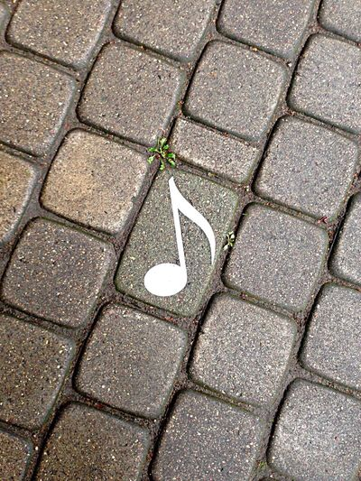 Music High Angle View Paving Stone Pattern No People Outdoors Day Note Art Arts Culture And Entertainment