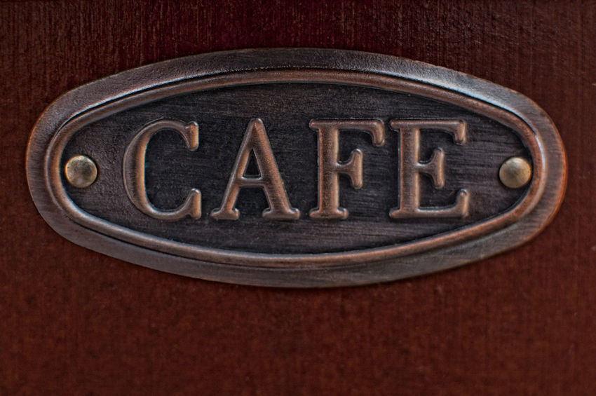 Coffee Logo Brown Brown Background Cafe Close-up Colored Background Dark Drink Food Food And Drink Indoors  Lable Metal No People Oval Shape Text Western Script Wood - Material Wood Grain