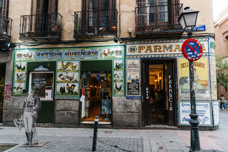 Old storefronts in Malasaña District in Madrid City Daoíz Y Velarde Drugstore Madrid Malasaña Retro SPAIN Shopping Spanish Travel Architecture Building Exterior City Day Dos De Mayo Monument Multiculturalism Old Outdoors Store Store Window Storefront Trendy Urban Vintage