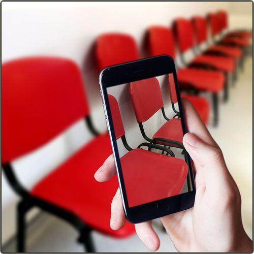 Capture Tomorrow Human Hand Auditorium Red Seminar Chair Seat Close-up