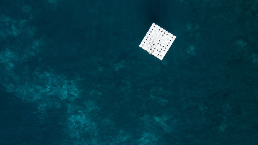 Aerial View Of Floating Platform In Sea
