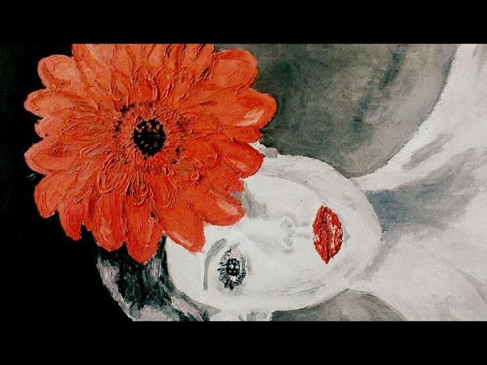 Red gerbera lady Acrylic Painting Artist Canvas EyeEm Gallery EyeEmNewHere Lady Mirror No Filter, No Edit, Just Photography Portrait Of A Woman Red Soul Mirror Woman Art Arts Culture And Entertainment Beauty In Nature Deep Thoughts Expresion Flower Flowering Plant Fragility Painting Red Gerbera Red Lips Shadow White Skin