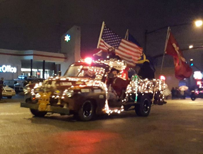 Spartanburg Hillbillies Illuminated Night Car Celebration Outdoors City Christmas People Architecture Love My Life  Most Wonderful Time Of The Year  Christmastime Celebration Christmas Christmas Parade Spartanburg Hillbillies Decorated Truck Flags Lights Love My Life