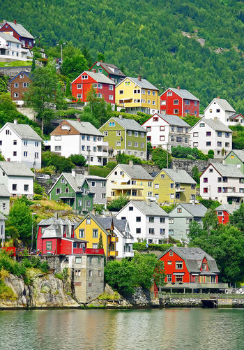 Colors Norway Architecture Building Exterior Built Structure City Colorful Day Hardanger House Mountain Nature No People Odda Outdoors Residential Building Sea Sky Town Travel Destinations Tree Water Waterfront Colour Your Horizn