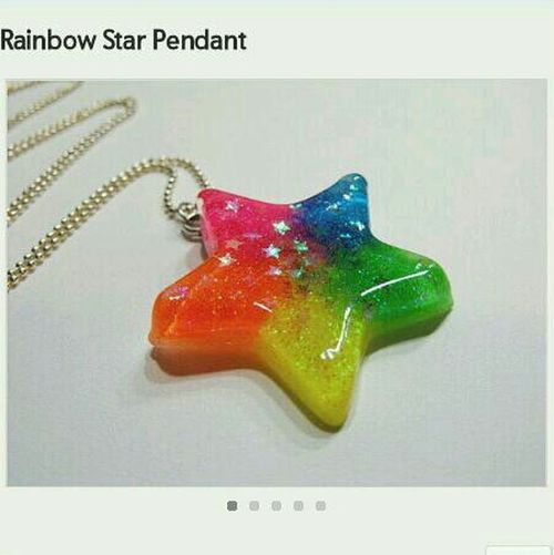 Rainbow Star Colorful Necklace Pendant Etsy Resin 2littlekisses