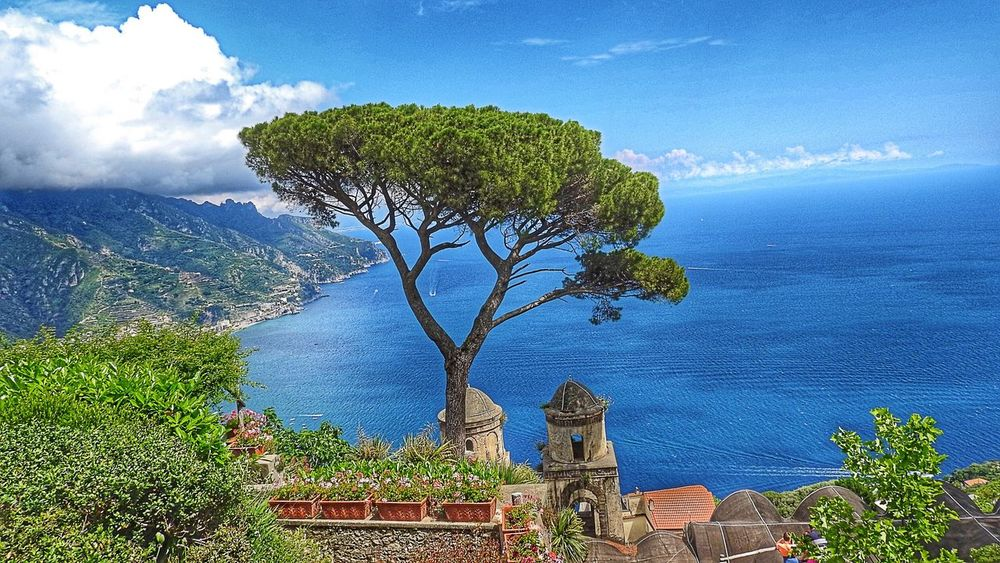 Ocean view in Ravello, Italy Pine Trees Ocean Ocean View Sea Sea And Sky Blue Blue Sky Clouds And Sky Mountains Mountain Amalfi Coast Campania Italy