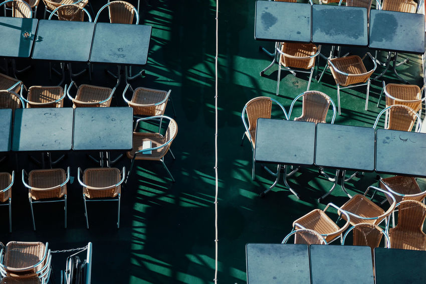 Twodayscologne Choice No People Variation Day Large Group Of Objects Indoors  Focus On Foreground Still Life Close-up Table Nature Arrangement In A Row Metal Group Side By Side Sunlight Collection Stack Chairs From Above  Ship Boat Tourism