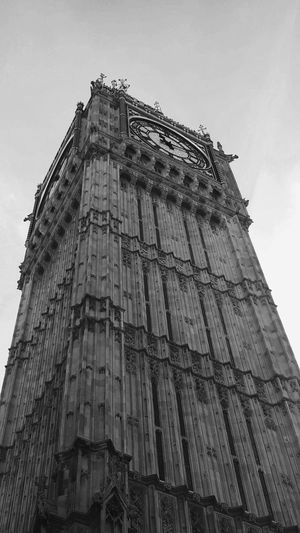 London Lifestyle Architecture Built Structure Building Exterior Low Angle View History No People Sky Vertical Day Outdoors London United Kingdom International Landmark Big Ben Vertical Day Westminster Abbey Black And White Photography Bnw Bwphotography Clock Tower