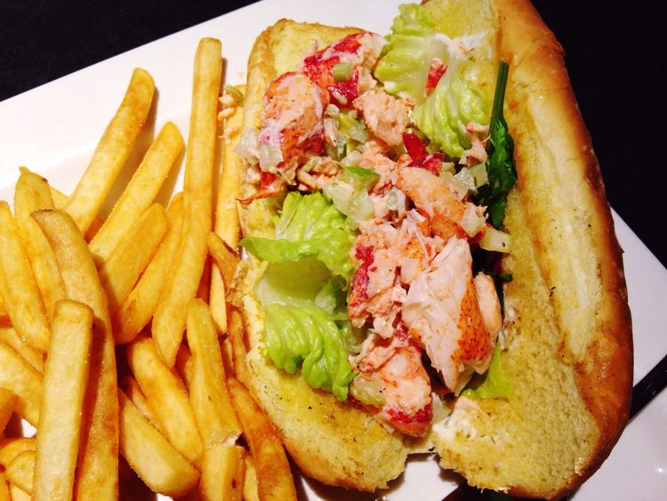 Lobster roll Food And Drink Ready-to-eat Plate Freshness Food Meal French Fries Gourmet Lobster Roll Lobsters Lobster Dinner