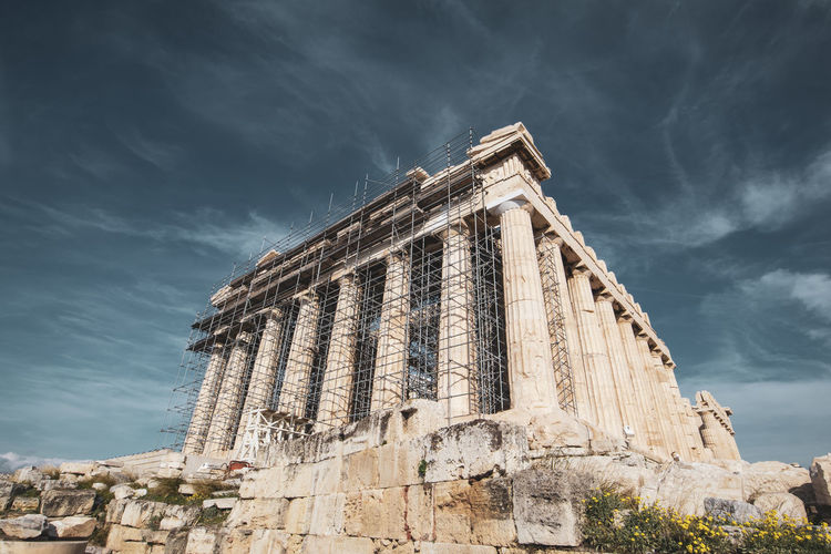 Acropolis Athens Greece Acropolis Sky Architecture History Built Structure Cloud - Sky The Past Low Angle View Travel Destinations Ancient Building Exterior Nature Travel Day Tourism Old Ruin No People Ancient Civilization Old Building Outdoors Architectural Column Archaeology Ruined