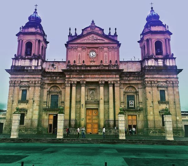 Catedral Architecture Building Exterior Built Structure Façade Dome Guatemala Outdoors People Men Day Sky City Adult Adults Only