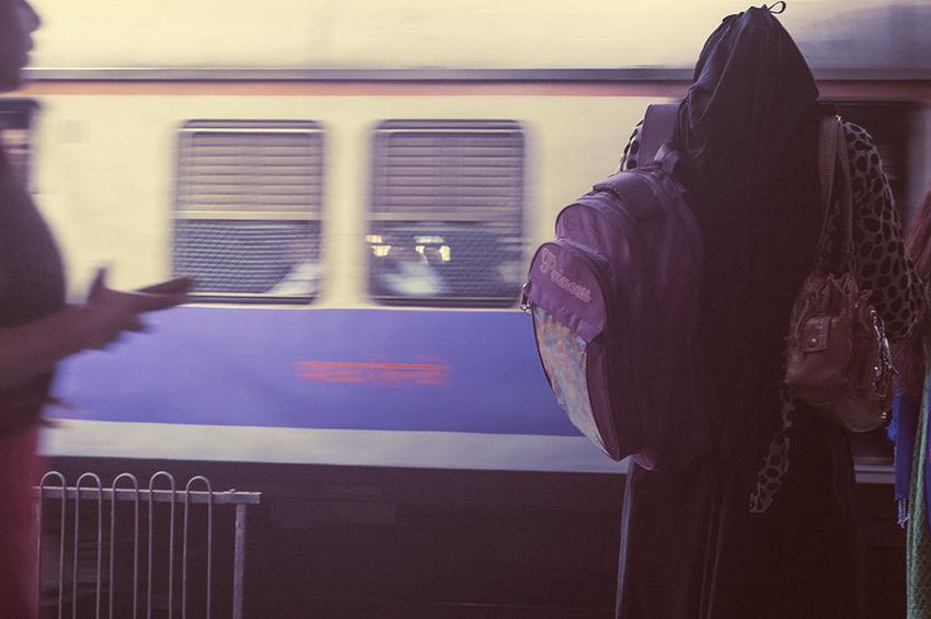 Waiting For A Train Commuting Public Transportation Mumbai