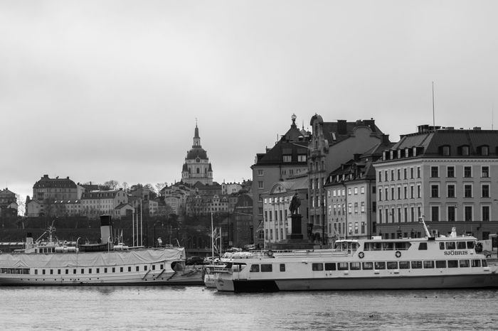 View on Stockholm View on the city center with the old buildings, with boats on the waterfront. Black and white. Architecture Architecture Black & White Black And White Blackandwhite Boat Building City City Life City View  Cityscapes Views Water Waterfront