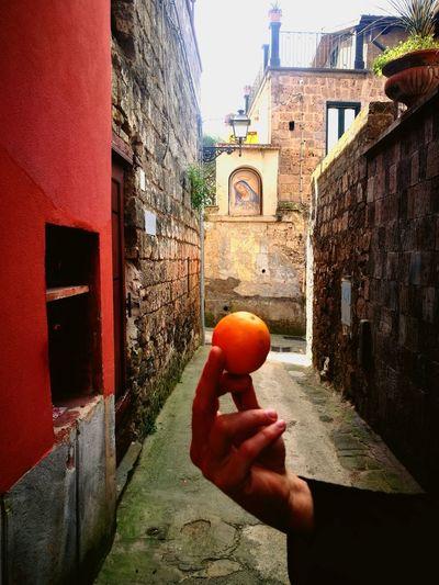 Sorrento Italy Orange Madonna Street Alley Walls Hand Offering Summer Europe