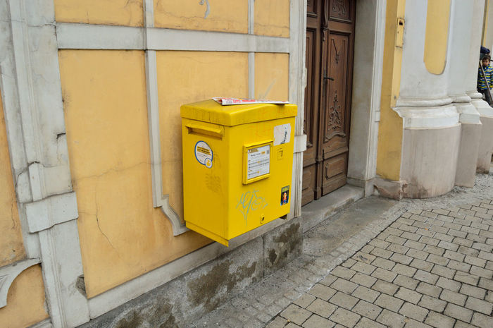 Post box Post Building Building Exterior Built Structure City Door Letter Mail No People Street Yellow