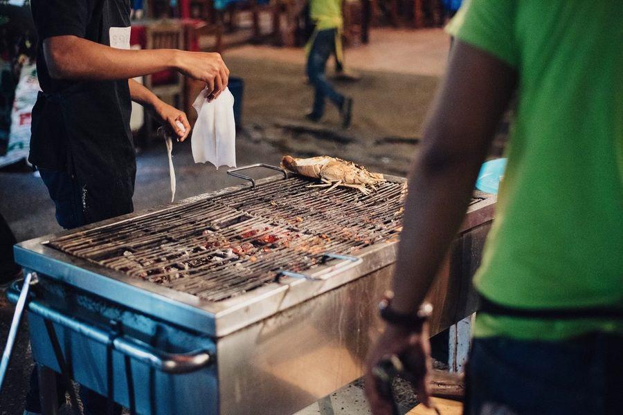 Thailand Huahin Night Market King Prawns Barbecue