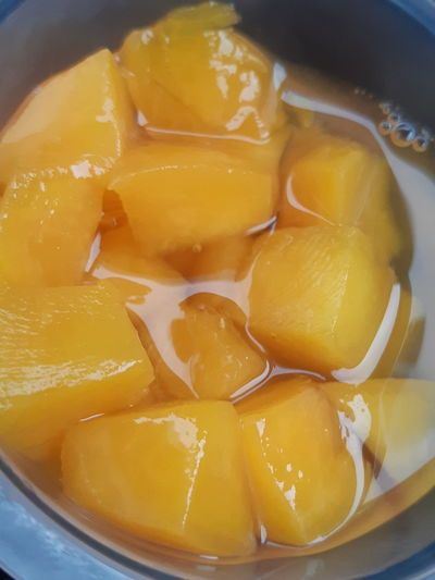 hmmmm juicey Sweet Taste Peaches🍑 Peaches In Juice Dessert Yellow Fruit Homemade SLICE Close-up Sweet Food Food And Drink
