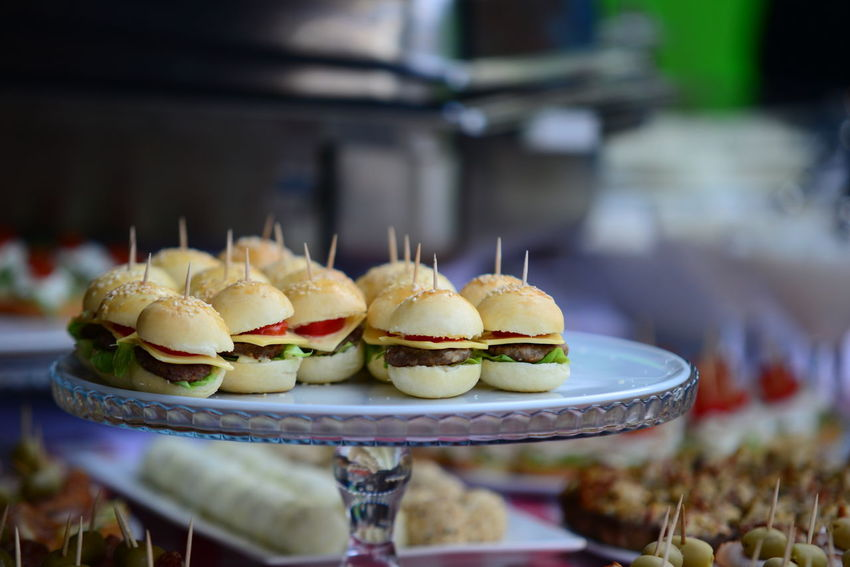 Mini hamburgers Food Hamburger Mini Hamburger Plate Ready-to-eat Selective Focus Serving Size Small Business Snack Temptation