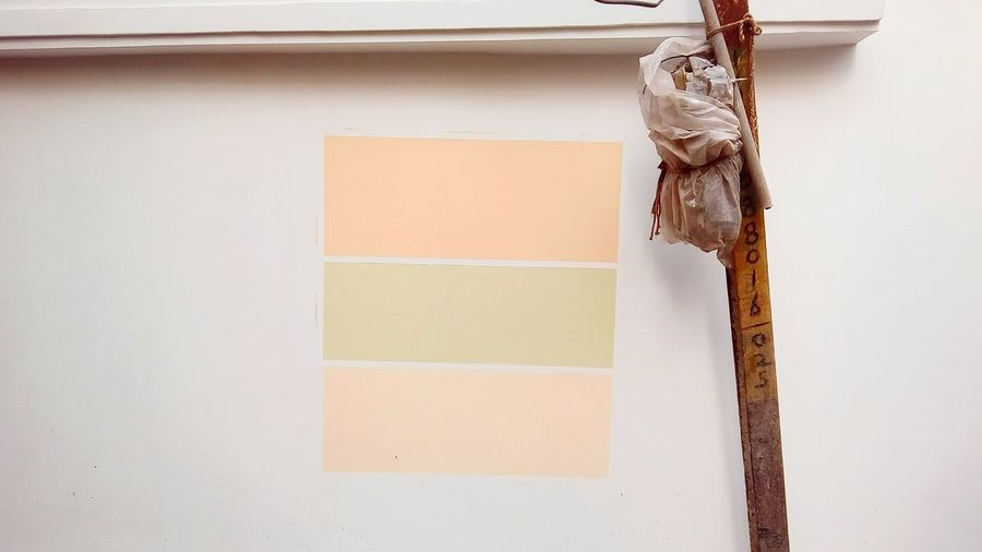 Color swatch on white wall