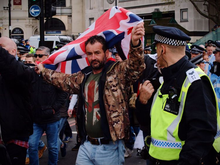 English Defence League (EDL) protester. London. 01-04-2017 Steve Merrick Protest Stevesevilempire London News Protesters Right Wing Olympus Zuiko English Defence League Skunks Racism EDL Racist London Uk