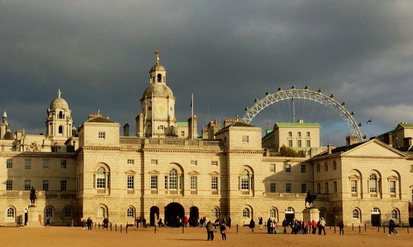 Architecture Building Exterior Built Structure Sky Cloud - Sky Large Group Of People Religion Tourism Travel Destinations Royal Horseguards Clouds Day History Travel Photography Sunlight Dome Outdoors Real People Men Lifestyles People