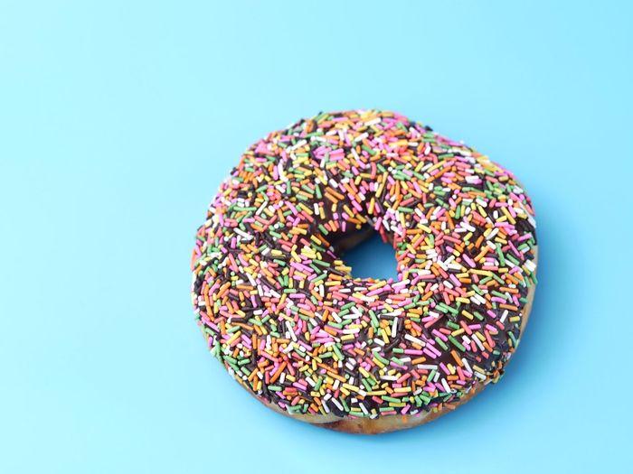 Donut on blue