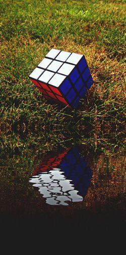 Rubik's Cube Water Reflections Water Grass