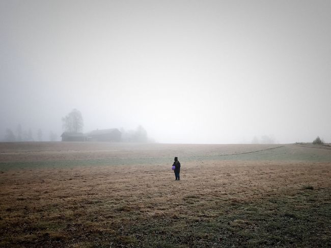 Fog Foggy Landscape Nature Weather Mist Beauty In Nature Field Scenics Outdoors Day One Person Tranquility Tranquil Scene Hazy  Full Length Sky Lonley Waiting For Friends Lost In The Landscape