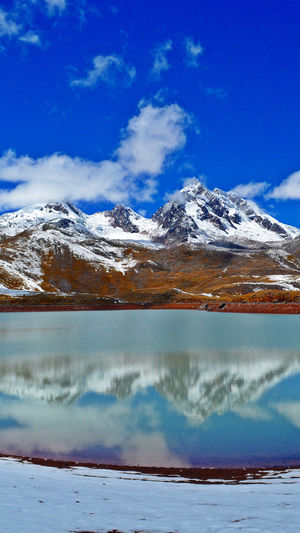 Water Mountain Snow Cold Temperature Lake Blue Snowcapped Mountain Frozen Water Winter Ice
