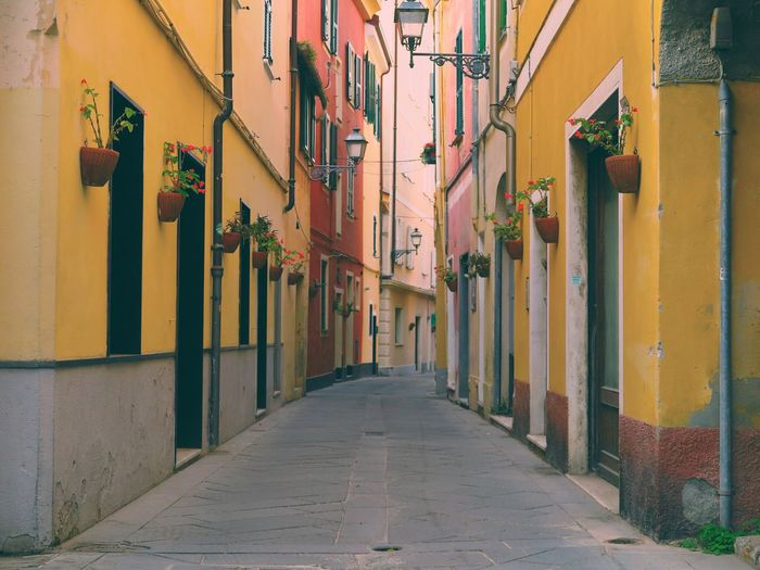 Alassio Mediterranean  Old Town Alley Architecture Building Building Exterior Buildings Built Structure Colorful Day Flowers Italy No People Old Buildings Outdoors Residential Building Street Photography Streetphotography The Way Forward Way