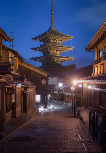 Yasaka Pagoda, Kyoto, Japan Architecture Built Structure Building Exterior Illuminated Night Sky Building Religion City Nature No People Belief The Way Forward Direction Lighting Equipment Street Place Of Worship Spirituality Travel Destinations Dusk Outdoors